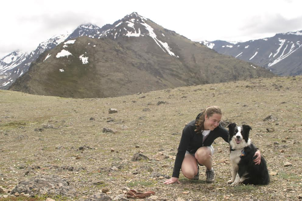 The author and her dog, Lox, on Flattop Mountain in Anchorage, Alaska