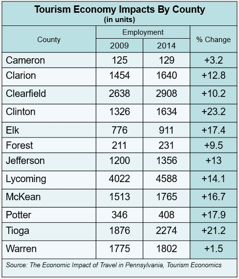 Tourism Economy Impacts by County (in units)